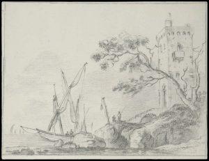 Dessin d'Italie de Jean-Baptiste TIERCE (Rouen 1737 – Florence 1794). Collection du Marquis de Sade