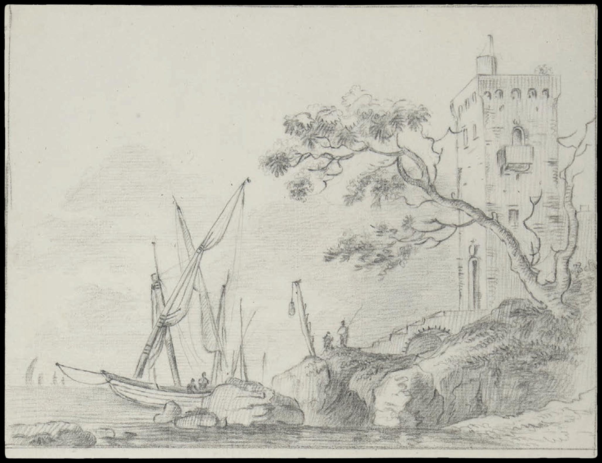 Dessin d'Italie de Jean-Baptiste TIERCE (Rouen 1737 – Florence 1794). Collection du Marquis de Sade Marine cotière