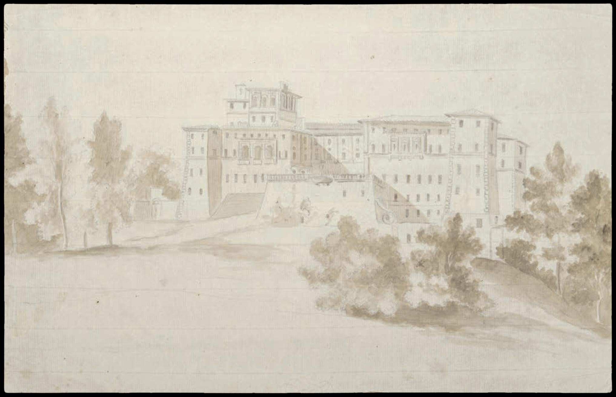 Dessin d'Italie de Jean-Baptiste TIERCE (Rouen 1737 – Florence 1794). Collection du Marquis de Sade Palais en Italie