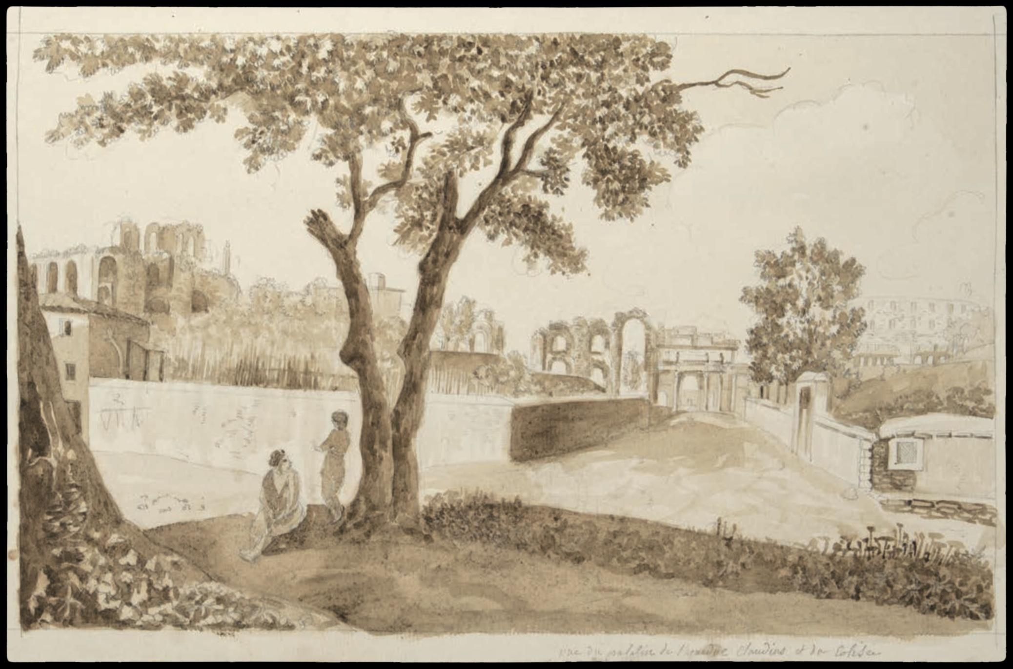 Dessin d'Italie de Jean-Baptiste TIERCE (Rouen 1737 – Florence 1794). Collection du Marquis de Sade Vue