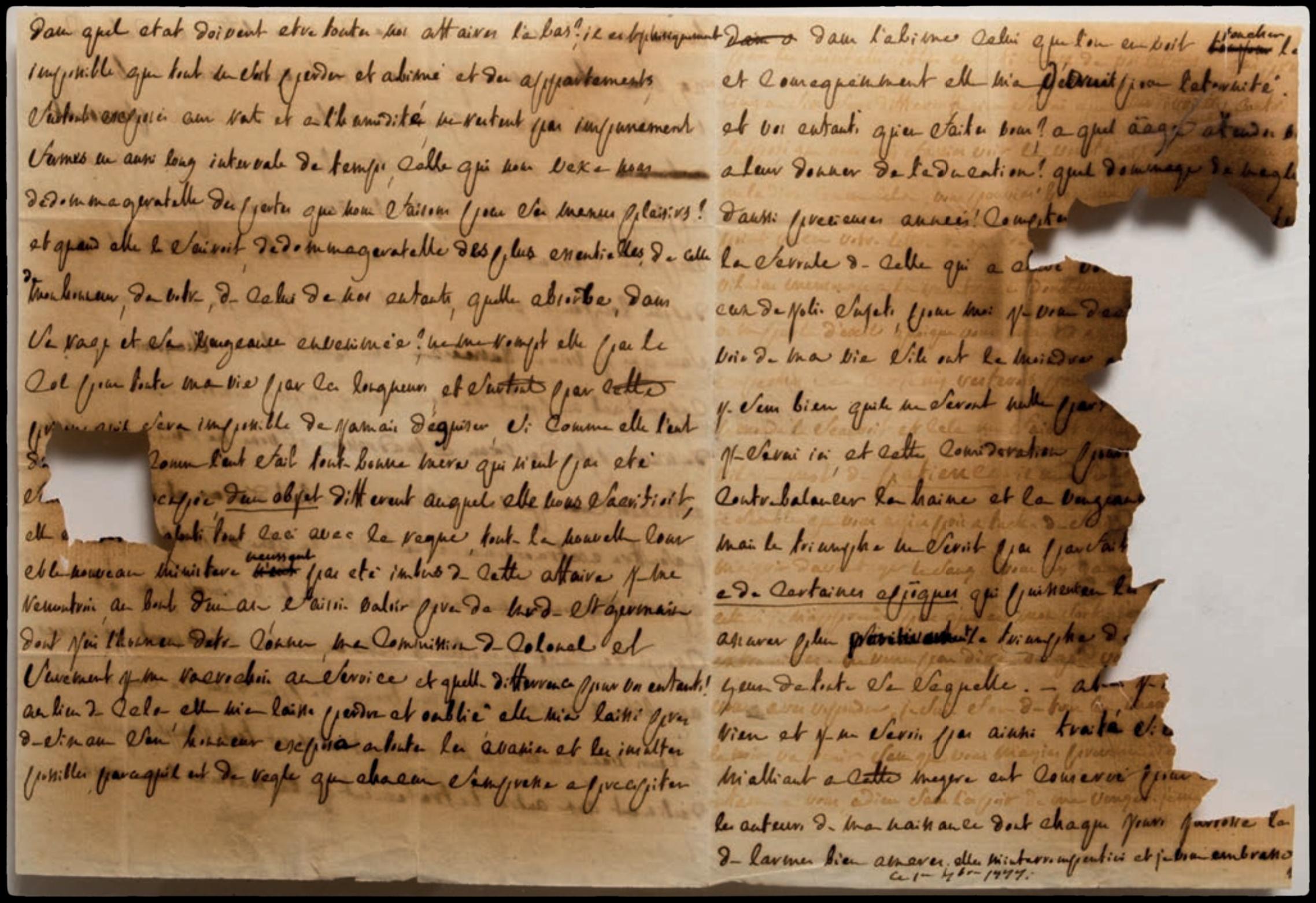 Lettre autographe écrite de Vincennes par le Marquis à son épouse. Encre jus de citron