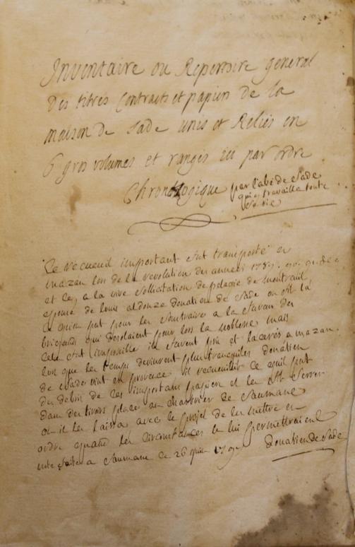 Inventaire des papiers Sade Saumane